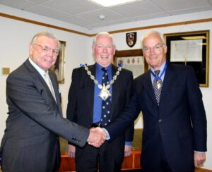From left to right: Colonel Peter Bishop DL; The Mayor of Ashford, Cllr John Link and Mr James Loudon DL. (c) Ashford Borough Council.