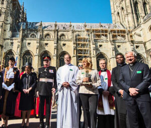 The Lord-Lieutenant and Viscountess De L'Isle pictured by the Cathedral with dignitaries from Hungary and Canterbury. (c) Catholic Bishops' Conference of England And Wales.