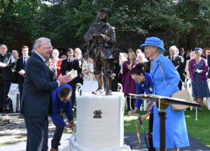 Pictured at the statue unveiling ceremony: Colonel Peter Bishop OBE DL President of the Queen's Own Buffs Regimental Association with HM Queen Margrethe II of Denmark, Colonel in Chief of the PWRR, the descendant regiment of The Buffs. (C) Barry Duffield DL