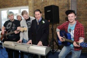 Jools Holland with the band from The Princes Trust/Fairbridge 'Get Started in Music Programme'