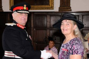 Mrs Janice Chapman from Tunbridge Wells being awarded her BEM from the Lord-Lieutenant, for services to Young People in Kent.