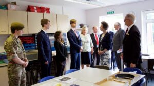 The Princess Royal touring the premises with pupils and staff. (c)Ali Kittermaster at Blush Photography