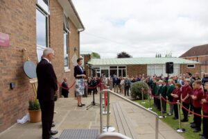 HRH delivering her speech  to the whole school including pupils from Cranbrook Primary who are due to join the school in September. (c)Ali Kittermaster at Blush Photography