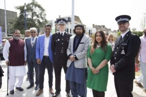 From left to right: Mohammed Aslam, Dr Vasudaven DL, Gurvinder Sandher, Assistant Chief Constable Pete Ayling, Imam Tahirain Ali Shah, Cllr Gurjit Bains and Chief Inspector Andy Gadd. (c) Gravesham Borough Council.