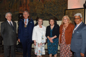 Left to right: Viscount De L'Isle, Lord-Lieutenant of Kent; Cllr David Hurley, The Worshipful the Mayor of Gravesham; Cllr Lyn Milner, Mayor's Escort; Viscountess De L'Isle;  Mrs Sharon Vasudaven, Dr Bhargawa Vasudaven DL. (c) Barry Duffield DL.
