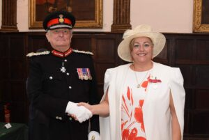 Mrs Dorothy Mcgovern being congratulated by the Lord-Lieutenant. (c) Barry Duffield DL.