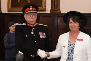 Mrs Shelley Phillips pictured with the Lord-Lieutenant. (c) Barry Duffield DL.