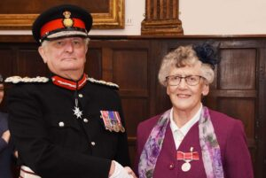 Reverend Marina Jeffrey-Watson receiving her medal from the Lord-Lieutenant. (c) Barry Duffield DL.