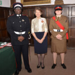 Left to right: Junior Under Officer Ayomide Adelusola, Mrs Valerie Hale JP DL and Cadet CSM Suzanne Goodsell
