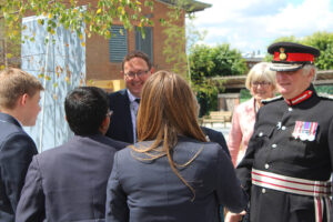 The Lord-Lieutenant talking to Year 9 Duke of Edinburgh Award participants, watched by Luke Magee, Principal and Margaret Williams, Chair of Governors. (c) Wye School.