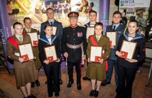 The Lord-Lieutenant pictured with nine Lord-Lieutenant Cadets for 2019 who will accompany him on County engagements throughout the year. © Stewart Turkington