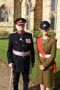 The Lord-Lieutenant pictured with CQMS Tabitha Gardiner from Tunbridge Wells Girls' Grammar School CCF.